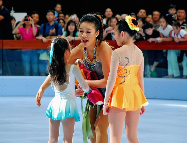 World champion figure skater Michelle Kwan has graced the ice skating rink at Marina Bay Sands.