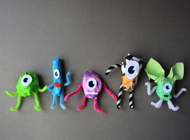 Easy-to-make paper monsters.