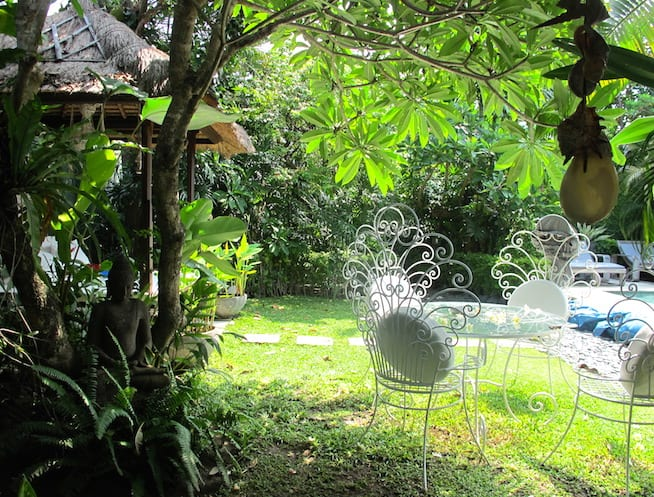 The lush garden at the Bali villa where Kate and family enjoyed their family reunion.