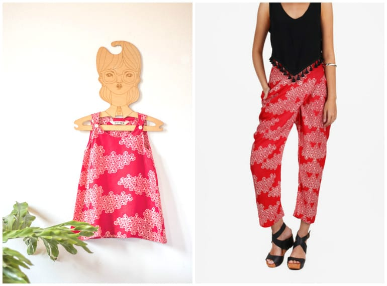 One cool way to coordinate with your kid: a pop of red from sustainable fashion label, Matter