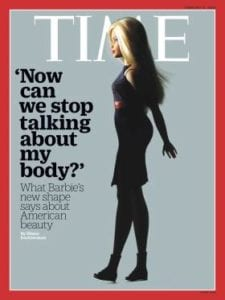 Barbie's new shape made its debut on the cover of TIME Magazine