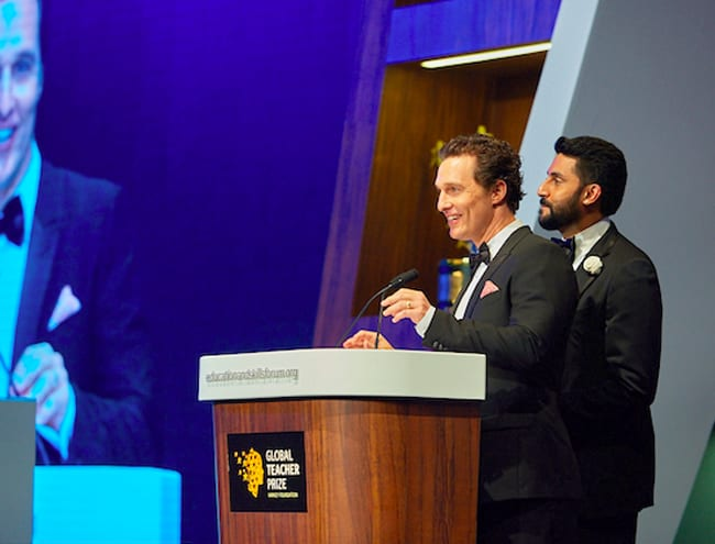 Actors Matthew McConaughey and Abhishek Bachchan show their support for the Global Teacher Prize.