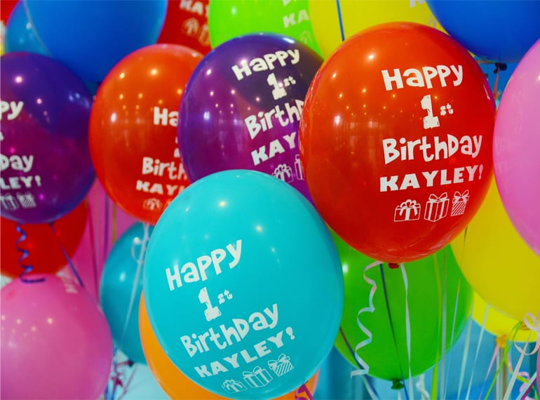 Customised balloons can be delivered to your door.
