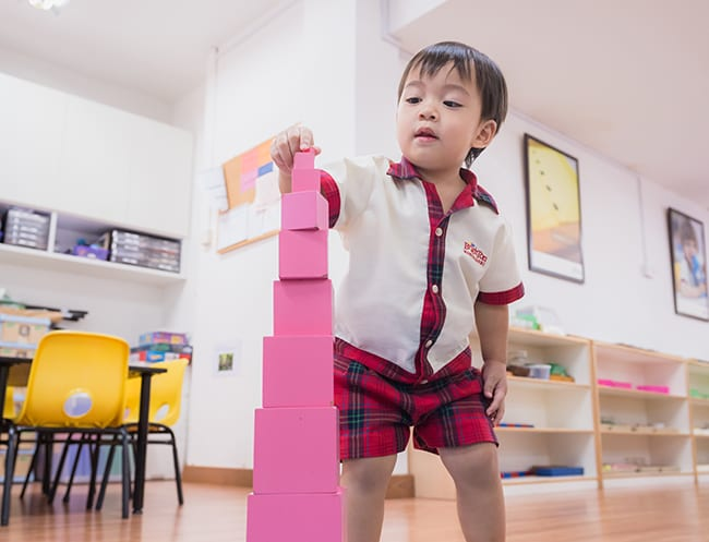Brighton Montessori: youngsters at a Montessori learn with specially developed learning tools, such as the iconic Montessori pink tower.