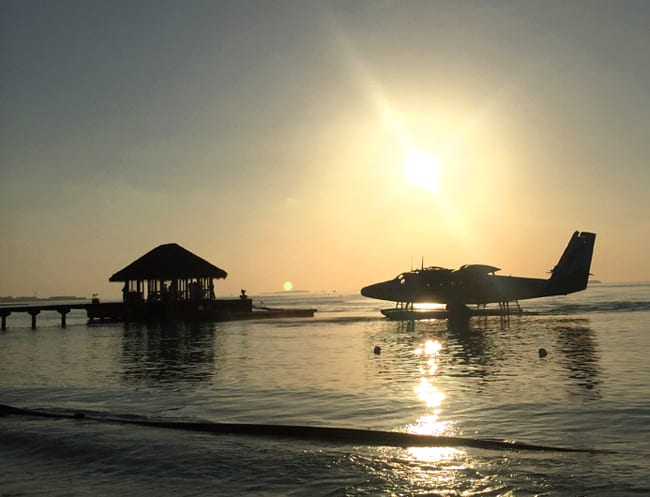 Seaplane at sunset at Per Aquum Niyama