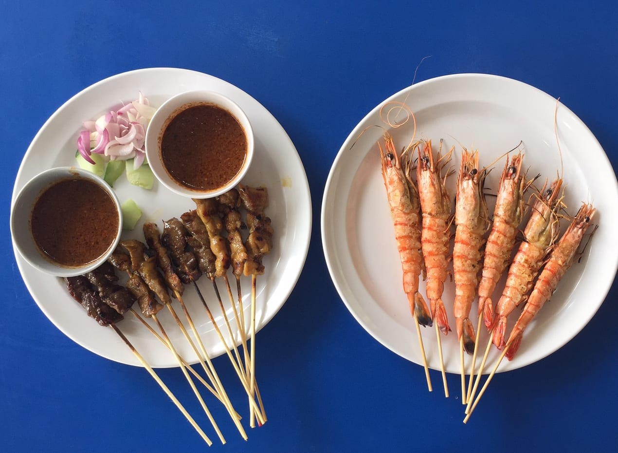 Satay at a Singapore hawker market