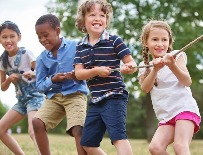 An oldie but a goodie: tug of war helps kids to build upper body strength.