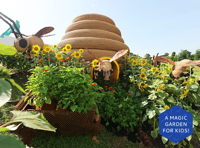 Singapore Garden Festival: A 3m by 3.3m beehive is home to Benny Bee and his friends, at the Benny's Sunflower Farm!