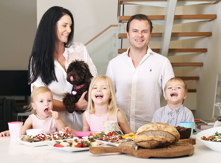 Terri-Anne with her gorgeous family: husband Tom, XXXX, twins Eli and Olivia and Bao Bao!
