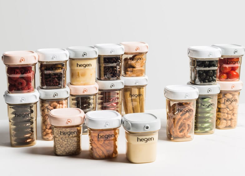 The clear, stackable containers are perfect for food storage. Pantry goals right here!