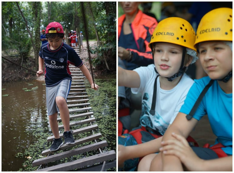 A physical challenge: students worked together to beat this obstacle course during an adventurous trip to Australia.