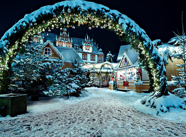Stock up on traditional stollen, ride the carousels and take in the perfect Xmas scenery at a German Christmas Market
