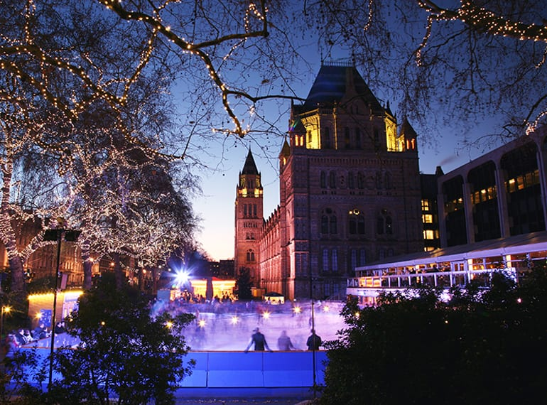 Kids will love a visit to the National History Museum, topped off with a spin around an outdoor ice rink in London