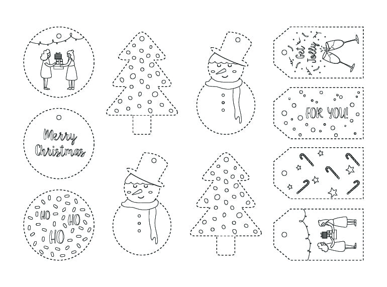 HoneyKids free printables: colour-in Christmas gift tags