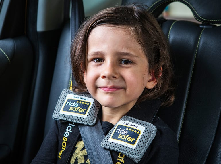 The RideSafer vest is a good taxi option for kids aged over three years.