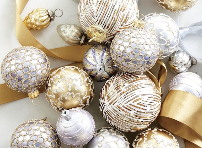 add some gold glam to your xmas decor with the crate barrel festive range - Crate And Barrel Christmas Decorations