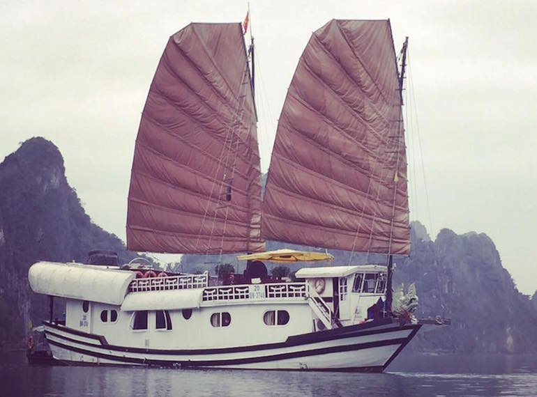 Our kids loved living aboard this junk boat on Ha Long Bay: plank walking optional.