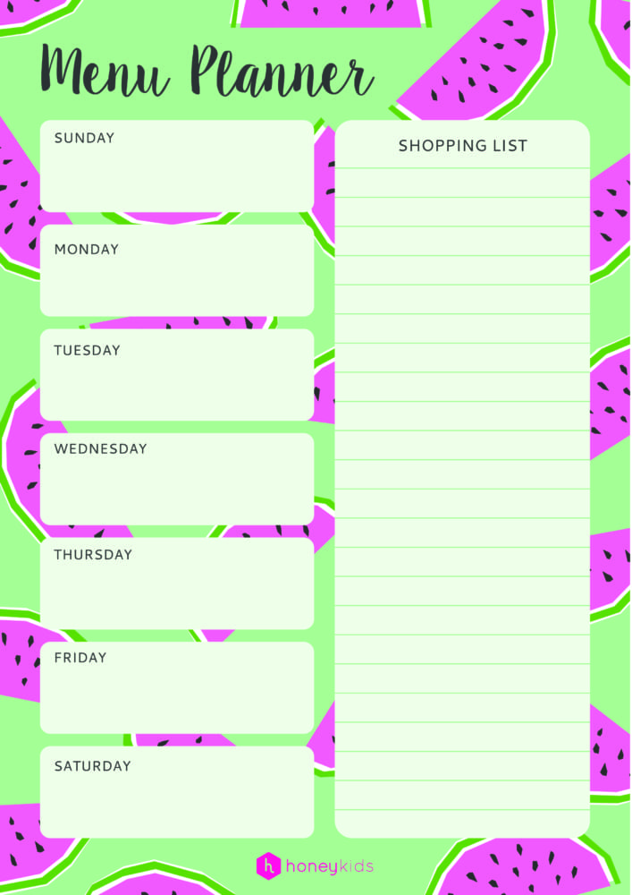 graphic relating to Weekly Menu Planner Printable titled Take organised with our free of charge printable menu planner HoneyKids