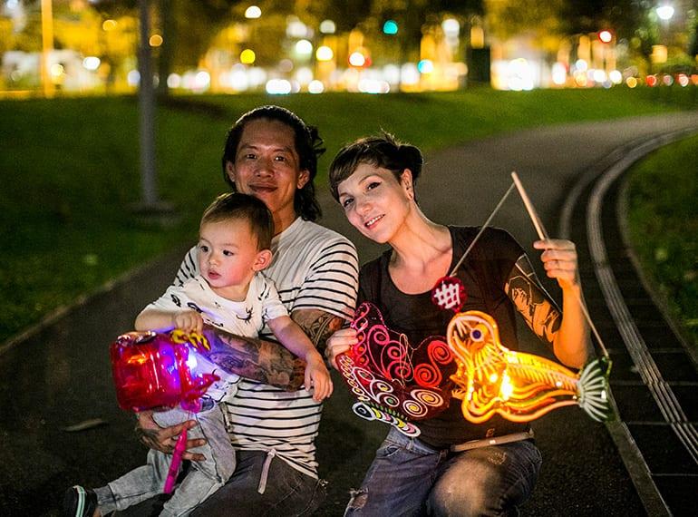 Autumn festival lantern celebrations Singapore family