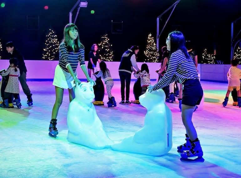 Skating in Singapore Christmas Wonderland Gardens by the Bay Honeykids Asia