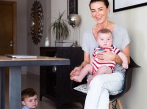 Helen McGuire of Hopscotch with her two children, helps women find flexible work in Singapore