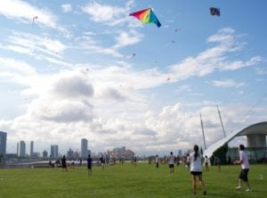 Kite flying at Marina Barrage, green spaces in Singapore