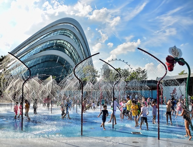 Free water play for kids in Singapore: Gardens By The Bay FEO Children's Garden