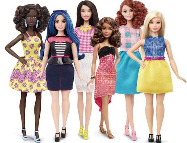 Barbie's new body shape: tall, curvy and petite dolls represent real women of different races