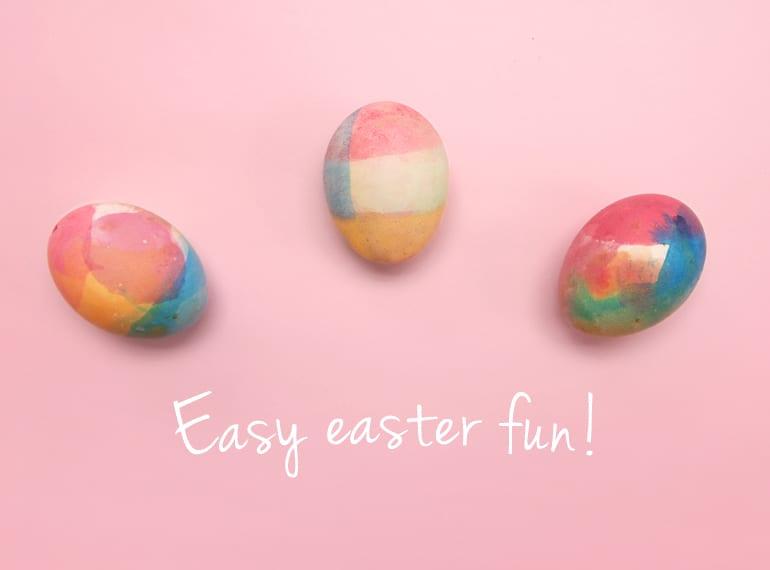 Rainbow dip-dyed eggs