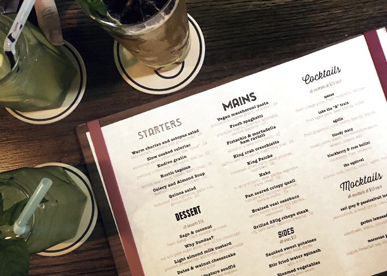 Delicious drinks and the fantastic new menu at Open Door Policy.