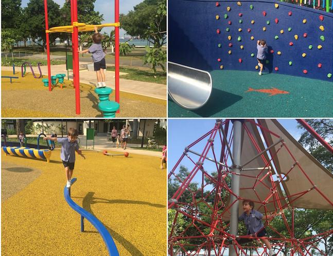 Monkey bars, a climbing wall, balance beam and scramble net: adventure galore at Marine Cove playground!