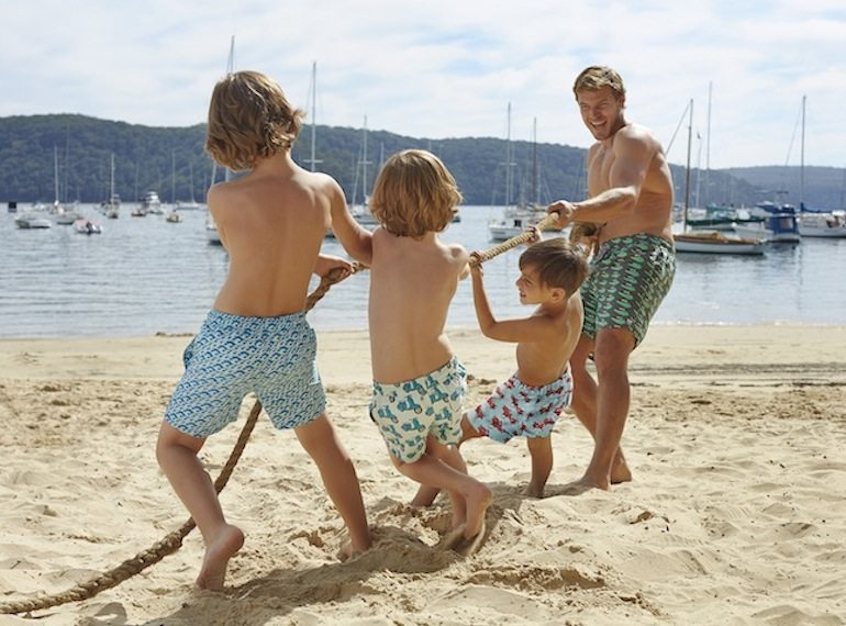 Tom-Teddy-tug-of-war swimsuits for kids Honeykids Asia Singapore