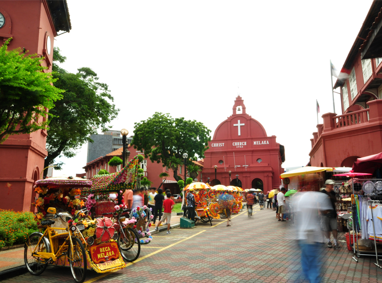 The Red Square is a vibrant, buzzing spot on the banks of the Malacca River