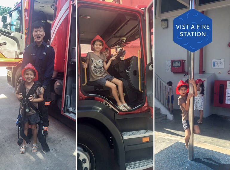 Free things to do with the kids in Singapore: visit a fire station!