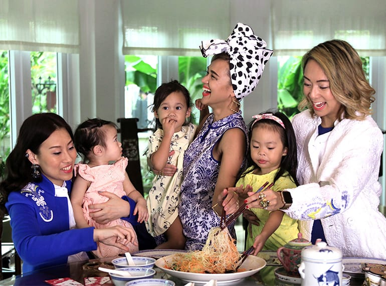 Bella Koh (with Alessandra), Aarika Lee (with Zola Mae) and Charmaine Seah (with Charlie Rose) share their Chinese New Year style with HoneyKids Asia.