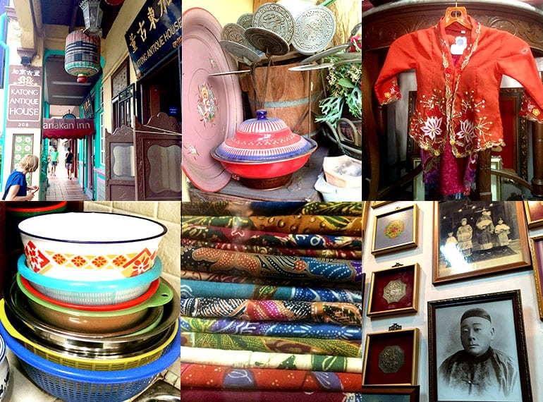 Katong Antique House treasures and delights include enamel ware and a Nyonya batik textiles