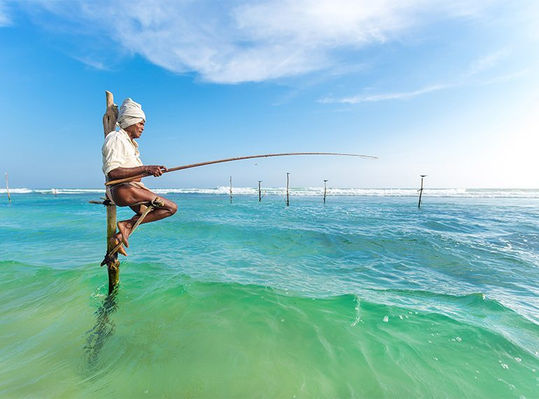 Sri Lanka with kids stilt fishing