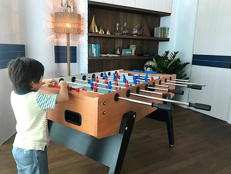 Seafood restaurant at Keppel Bay Bayswater Kitchen has a fun nautical-themed vibe and foosball for the kids