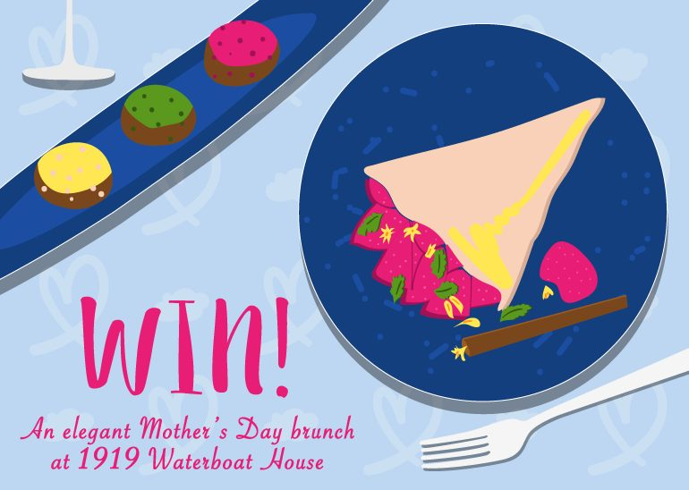 HoneyKids giveaway: Win a Mother's Day brunch for a family of four at 1919 Waterboat House. We have two sets to give away!