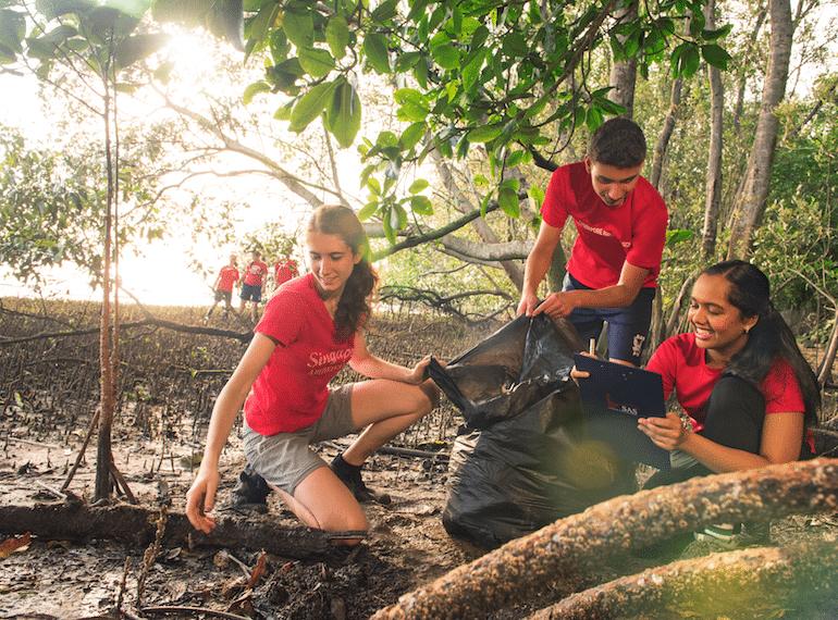 SAS-high-school-coastal-cleanup Honeykids Asia Singapore