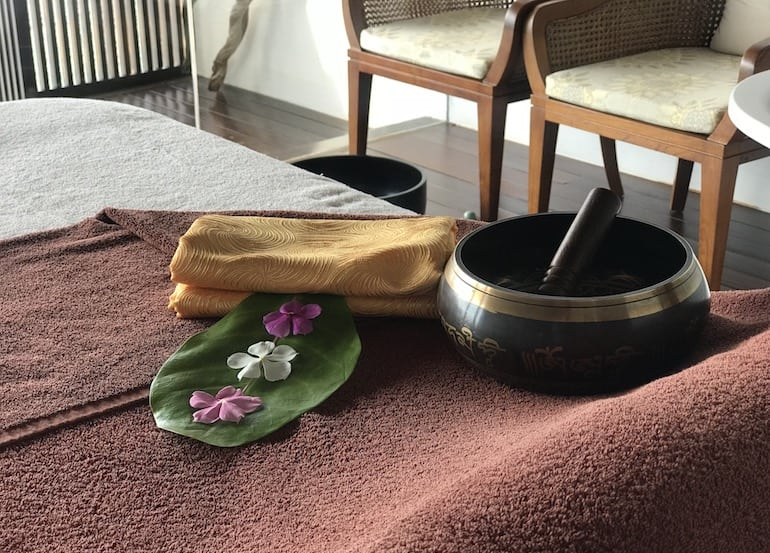 Himalayan singing bowls are part of the relaxing treatments at The Spa by Clarins at The Residence Maldives