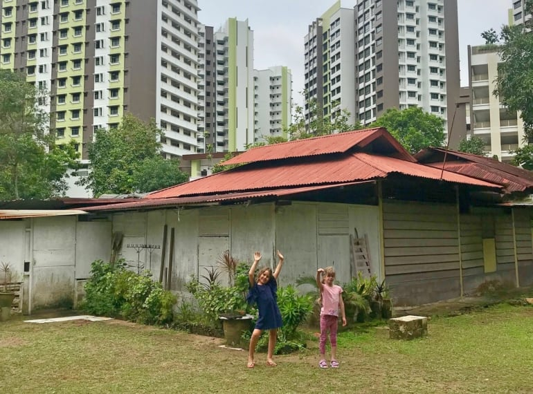 Kids playing in Kampong Lorong Buangkok