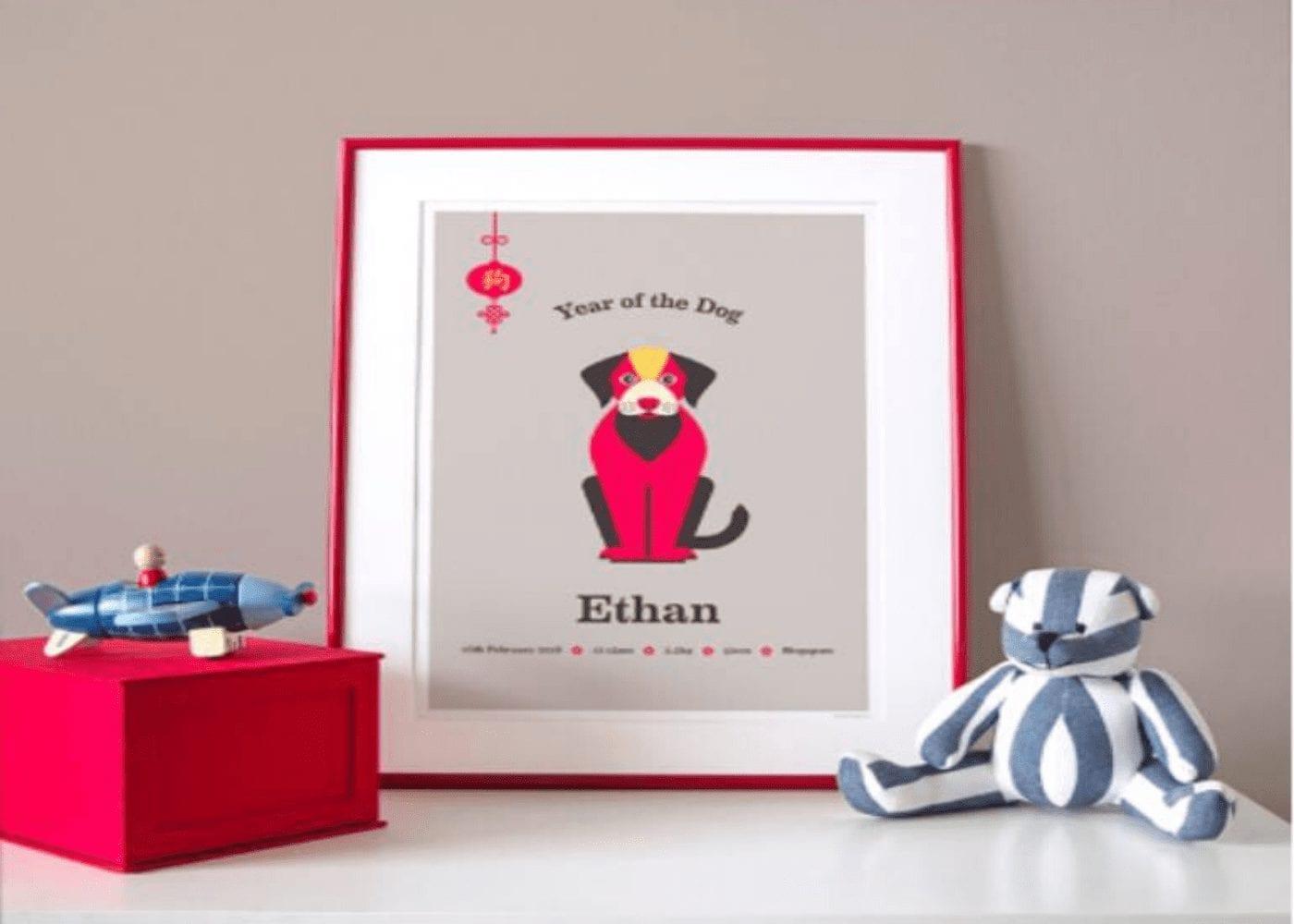 a print of a pug as part of a chinese zodiac artwork