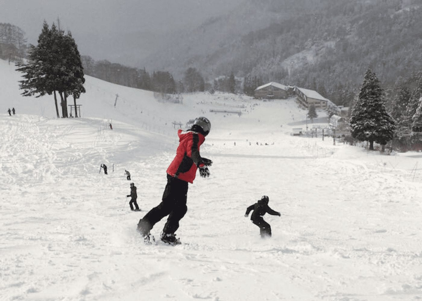 a snowboarder on a slope