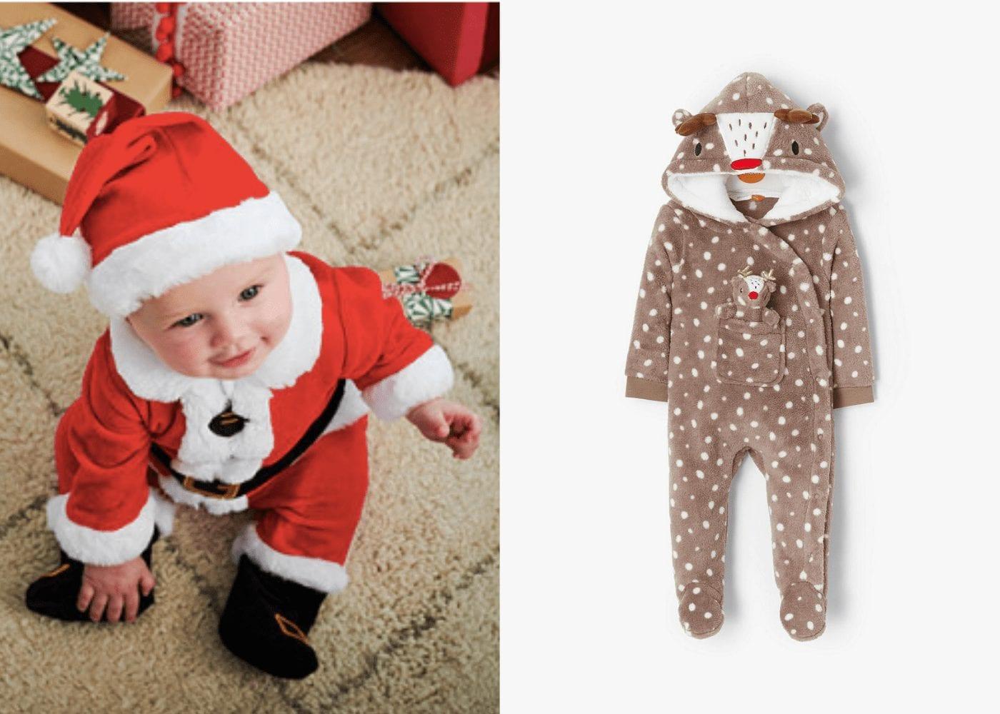 baby santa and reindeer onesie