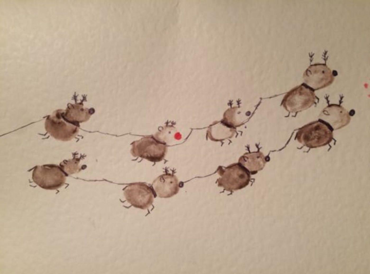 Fingerprint reindeer cards