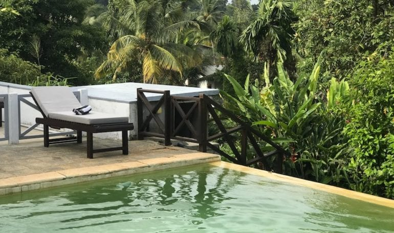 Infinity pool with a view at Villa Pooja Kanda