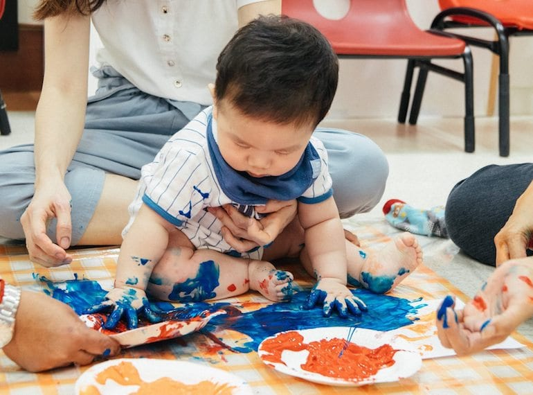 Messy time equals learning time for babies!