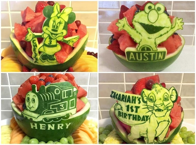 birthday cakes made from fruit
