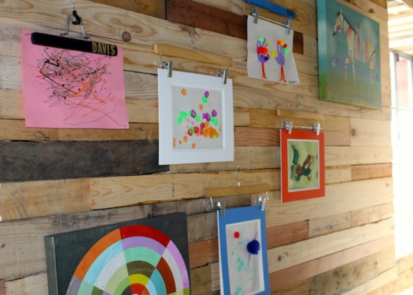 coat hangers to display kids' art